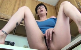 Sexy Brunette Housewife With A Marvelous Ass Pleases Herself