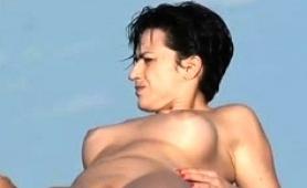 Nudist Beach Voyeur Spying On A Busty Brunette Amateur Milf