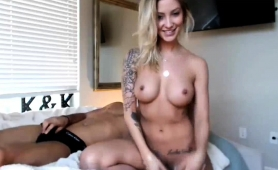 Sultry Blonde With Perky Boobs Fucks A Raging Pole On Webcam
