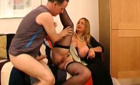 Voluptuous Blonde Milf In Lingerie Enjoys Hardcore Anal Sex