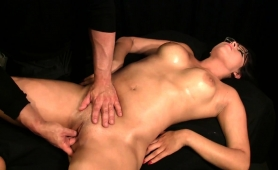 Buxom Brunette Milf Is Made To Cum Hard On The Massage Bed