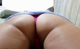 Amateur Babe In Tight Pink Panties Flaunts Her Marvelous Ass