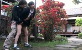 Delightful Oriental Teen With Pigtails Enjoys Outdoor Sex