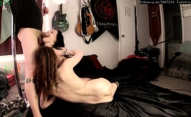 Two Exciting Young Babes Share A Throbbing Pole On Webcam
