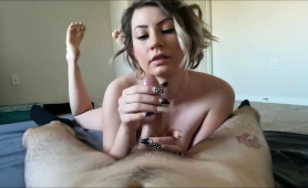 Buxom Young Brunette Wraps Her Lips And Hands Around A Cock