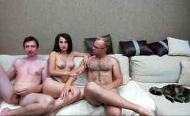 Buxom Amateur Brunette Having Fun With Two Guys On Webcam